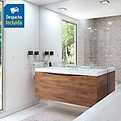 Kit lavamanos Siena blanco con mueble greco Rh 120x51 cm Avellana
