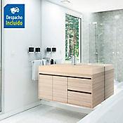 Kit lavamanos Bari marfil con mueble Vitelli Rh 100x50 cm Latte