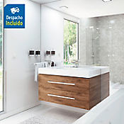 Kit lavamanos Oslo blanco con mueble Misus Rh 100x50 cm Avellana