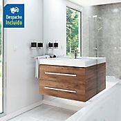 Kit lavamanos Bari blanco con mueble Misus Rh 100x50 cm Avellana