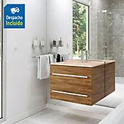 Kit lavamanos Quadratto marfil con mueble Misus Rh 63x48 cm Avellana