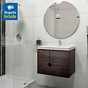 Kit lavamanos Bari blanco con mueble Dalí 63x48 cm Tabaco chic