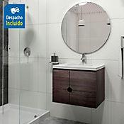 Kit lavamanos Barcelona blanco con mueble Dalí 63x48 cm Tabaco chic