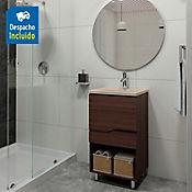 Kit lavamanos Rio bone con mueble Valdez piso 48x43 cm Nuez