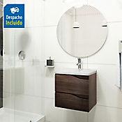 Kit lavamanos Quadratto blanco con mueble Picasso 48x43 cm Tabaco