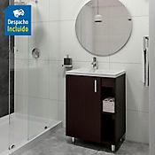 Kit lavamanos Venecia blanco con mueble piso plus 63x48 cm Wenge