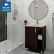 Kit lavamanos Barcelona bone con mueble piso plus 63x48 cm Wengue
