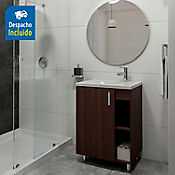 Kit lavamanos Parma blanco con mueble piso plus 63x48 cm Nuez