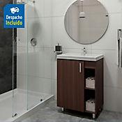 Kit lavamanos Bari blanco con mueble piso plus 63x48 cm Nuez