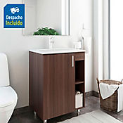 Kit lavamanos Trentino blanco con mueble piso plus 63x48 cm Nuez