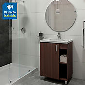 Kit lavamanos Barcelona blanco con mueble piso plus 63x48 cm Nuez