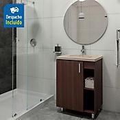 Kit lavamanos Barcelona bone con mueble piso plus 63x48 cm Nuez