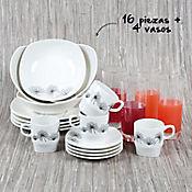 Vajilla Cuadrada Otoño de 4 Puestos 16 Piezas + Juego de 4 Vasos