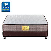 Combo Colchón Golden Doble + Base Cama Completa Chocolate 140x190 cm