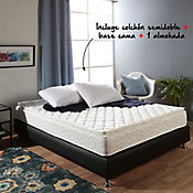 Combo Colchón Basic I Pillow Semidoble + Base Cama 120x190 cm Negra + Almohada