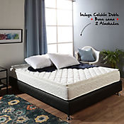 Combo Colchón Basic I Pillow Doble + Base Cama 140x190 cm Negra + 2 Almohadas