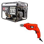 Generador Energia 6500W Porte Cable + Taladro Percutor 550w black & Decker