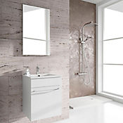 Kit mueble de baño Qubo 40x50x40 cm 1 puerta blanco + lavamanos + espejo