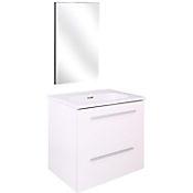 Kit mueble de baño Street 50x50x35 cm 2 cajones blanco + lavamanos + espejo