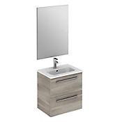 Kit mueble de baño Street 50x50x35 cm 2 cajones gris + lavamanos + espejo
