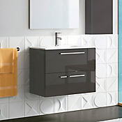 Mueble de baño Easy 80x56x45 cm 2 cajones - Antracita