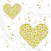 Servilleta Golden Hearts 33x33cm