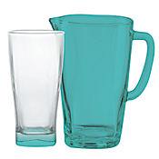 Set de Jarra + 6 Vasos Vernoa Fondo Azull