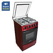 Estufa de Piso con 4 Puestos Piso con Horno con Grill Gas Natural Rojo