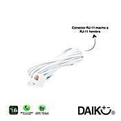 Cable teléfono 7,6 metros-25 ft blanco plano toma sencilla