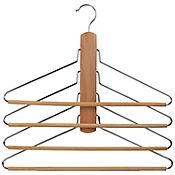 Gancho de madera laminado para 4 pantalones
