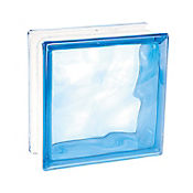 Bloque vidrio cloudy blue 190 mm x 190 mm x 80 mm