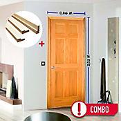 Combo Puerta Pino 6 Paneles 0.66x2.03m 35mm + Marco Pino