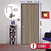Combo Puerta Itaca 70x200 cm + Marco Itaca + Bisagras + Cerradura baño