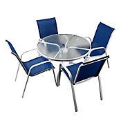 Combo Sling Mesa Redonda + 4 Sillas Azul
