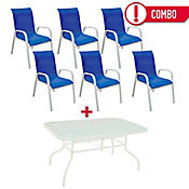 Combo Sling Mesa Rectangular + 6 Sillas Azul
