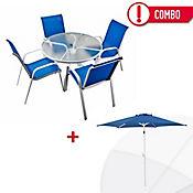 Combo Mesa Redonda + Parasol Azul + 4 Sillas Azul