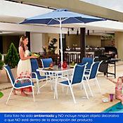 Combo Mesa Rectangular + Parasol Azul + 6 Sillas Azules