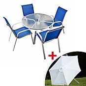 Combo Mesa Redonda + Parasol Blanco+ 4 Sillas Azul