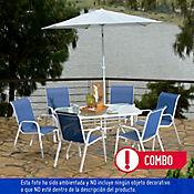Combo Mesa Rectangular + Parasol Blanco + 6 Sillas Azul
