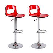 Set x 2 sillas bar acrílicas Alix rojas
