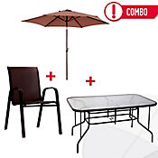 Combo Mesa Rectangular + Parasol + 6 Sillas Chocolate