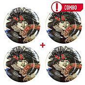 Set de 4 Platos Dama de Negro con Abanico Colección Grau Corona