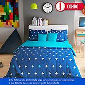 Comforter Sencillo + Juego de Cama Sencillo 100% Algodón 144 Hilos Estefano Jacky Teens