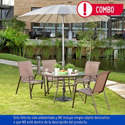 Combo sling 4 sillas chocolate mesa redonda parasol for Mesa 4 sillas homecenter