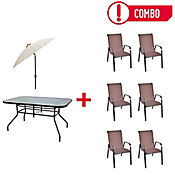 Combo Sling 6 Sillas Chocolate + Mesa Rectangular + Parasol Natural