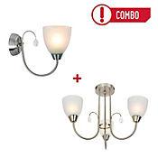 Lámpara Colgante 3 Luces E27 Satín + Aplique Pared 1 Luz E27 Satín