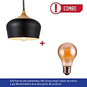 Lámpara Colgante 1 Luz E27 Vintage Campana Madera Negro + Bombillo LED 6W Luz Ámbar
