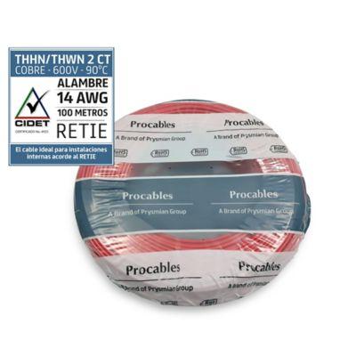 Alambre #14 100 metros rojo Conectores y Cables