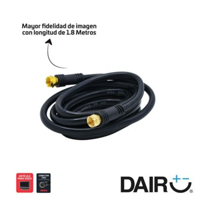 Cable coaxial 1,8 metros-6ft rg6 negro terminales rosca