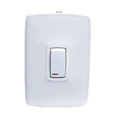 Interruptor sencillo luz piloto blanco arquea
